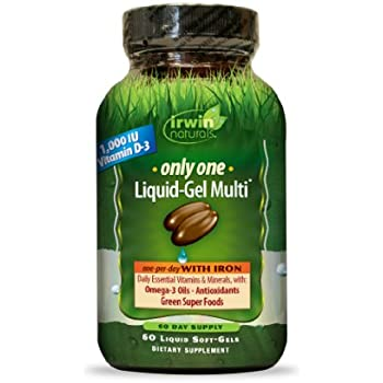 Irwin Naturals Only-One Multi Liquid-Gel with Iron, 60 Count