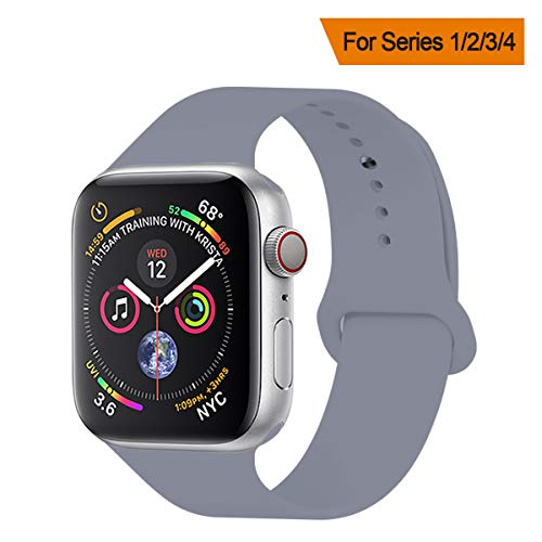 (YANCH Compatible with for Apple Watch Band 42mm 44mm, Soft Silicone Sport Band Replacement Wrist Strap Compatible with for iWatch Series 4/3/2/1, Nike+,Sport,Edition, S/M Size, Lavender)
