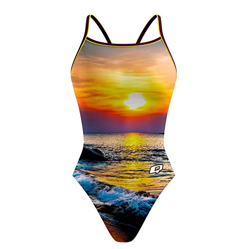 Q Swimwear Sunset Sunback Tank One Piece Swimsuits for Women, Italian Fabric One Piece Bathing Suits for Women, 4-Way Stretch Flexible Race Swimsuits (26)