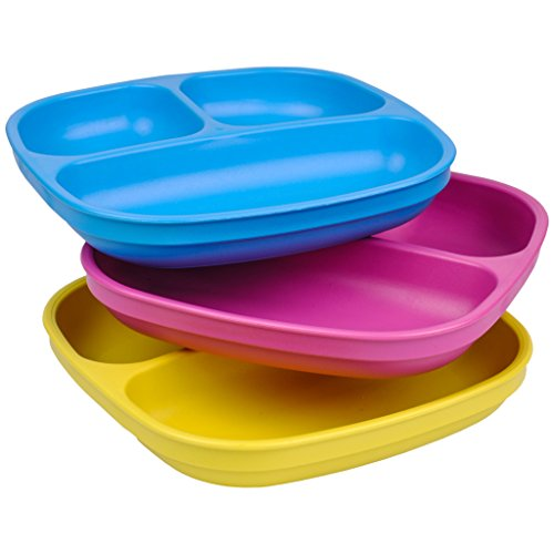 Re-Play Made In USA 3pk Divided Plates with Deep Sides for Easy Baby, Toddler, Child Feeding - Sky Blue, Bright Pink & Yellow (Easter)
