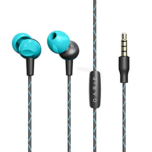 Earphones, in-Ear Headphones with Microphone Music Stereo Earbuds Headset with Zipper Case by OARIE(Sky Blue)