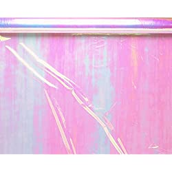 "Amscan Functional Iridescent Cellophane Wrap Party Supplies for Any Occasion, 10' x 30"", Pink and Blue Opals"