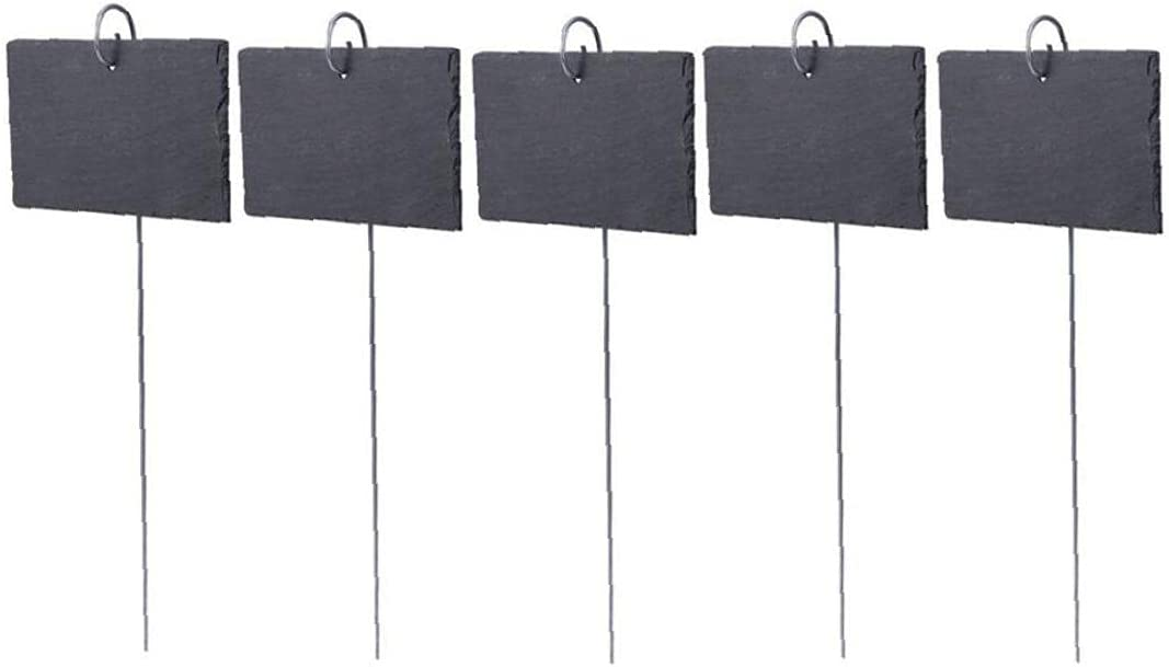 Plant Labels,Garden Marker Slate Black Natural Sign Label with Stainless Steel Hanging Rod 5pcs (10x7cm)