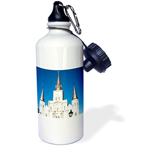 Danita Delimont - Architecture - US, New Orleans. St Louis Cathedral Plaza D Armas holiday decor - 21 oz Sports Water Bottle (Cathedral Plaza)