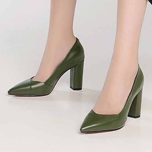 JIEEME Ladies Sexy Block Heels Genuine Leather Women Pumps Fashion Pointed Toe Black Yellow Women Court Shoes Green c4gFg