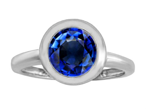 Star K 8mm Round Solitaire Ring with Created Sapphire Size 5 (Womens Blue Star Sapphire Rings)