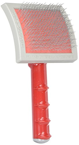 Oscar Frank Universal Plastic Handle Pet Slicker Brush with Curved Back, Large -