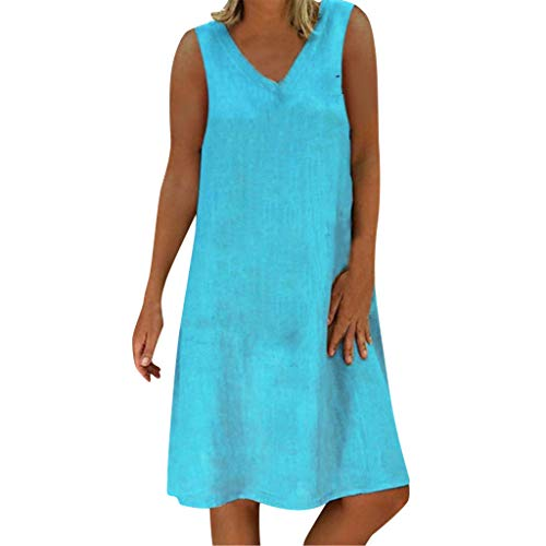 - Cotton Linen Plus Size Dress Comfy Sales NRUTUP Summer Style Feminino Vestido T-Shirt Solid Sleeveless Midi Dress hot