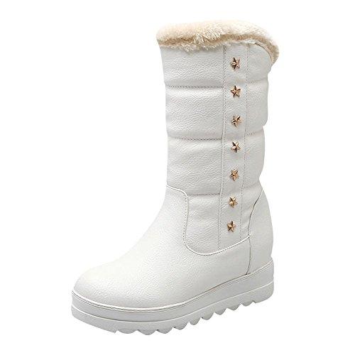 Mee Shoes Damen Blockabsatz warm gefüttert runde hidden heel Schneestiefel Weiß
