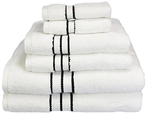 Superior Hotel Collection 900 Gram, 100% Premium Long-Staple Combed Cotton 6 Piece Towel Set, White with Black Border