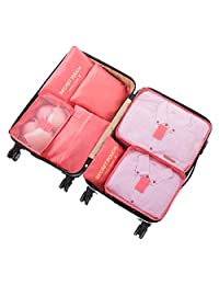 Oniche Travel Packing Cubes, Multi-Function 7 Set Luggage Organizer with Laundry Bag, Luggage Compression Pouches -Watermelon red