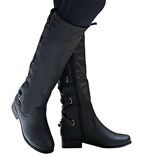 Winter Tall Women Strappy Leather Riding Boots Meilidress Black Flat Eqf7xwgg