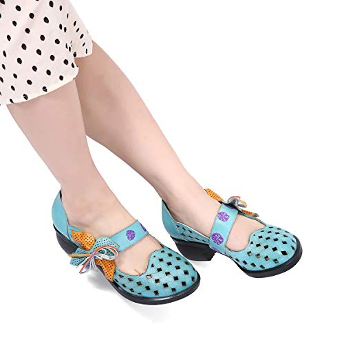 Vintage Slipper Damen Blockabsatz High Leder gracosy Schuhe Pumps Party Halbschuhe Schuhe Heels Flats Klassische Jane Mary Blau Pumps vqCdY
