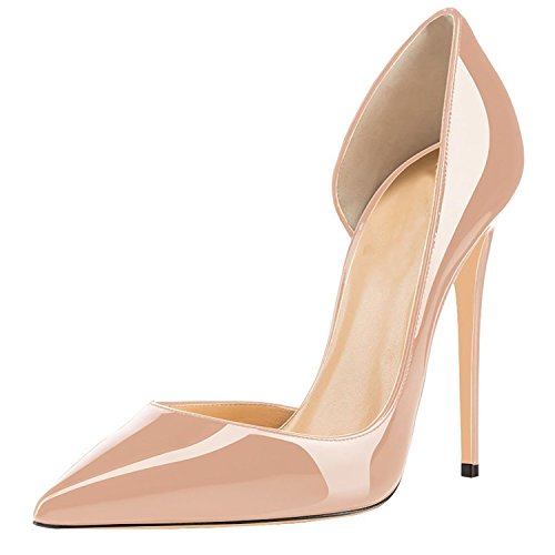 Lovirs Womens Pointed Toe Sexy High Heel Slip On Stiletto Pumps Wedding Party Plus Size Shoes Nude J8CWOEDqMh