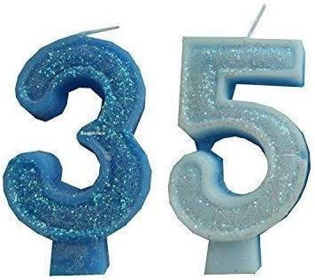 2 Piezas Vela de Cumpleaños con Derzahl 35