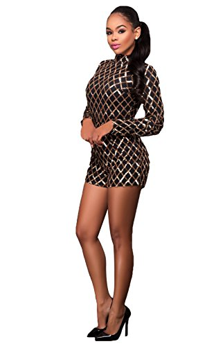 Women Sequin Bodycon Clubwear Shorts Jumpsuit Playsuit Rompers Bodysuit Black L