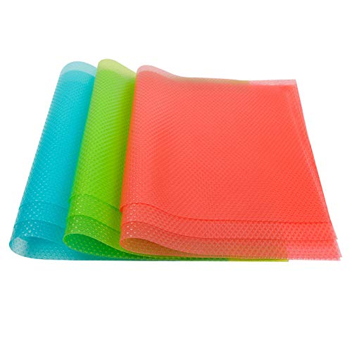 BAKHUK 9 Pack Refrigerator Mats Refrigerator Pads Shelf Mats Washable Fridge Mats, Can Be Cut Refrigerator Liners, Drawer Table Placemats (3 Green, 3 Pink, 3 Blue)