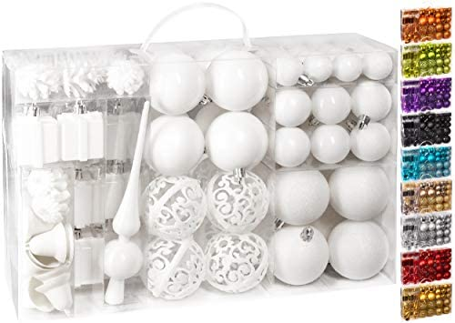 Brubaker Set di 101 Accessori Decorativi per L'Albero di Natale – addobbi Natalizie in Color Bianco – Diverse Forme di Palline ed Un Puntale per Albero di Natale