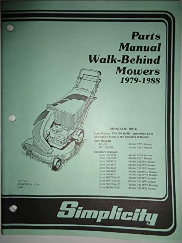 Simplicity 1979 thru 1988 Walk-Behind Mowers Parts Catalog Manual TP1130 9/88