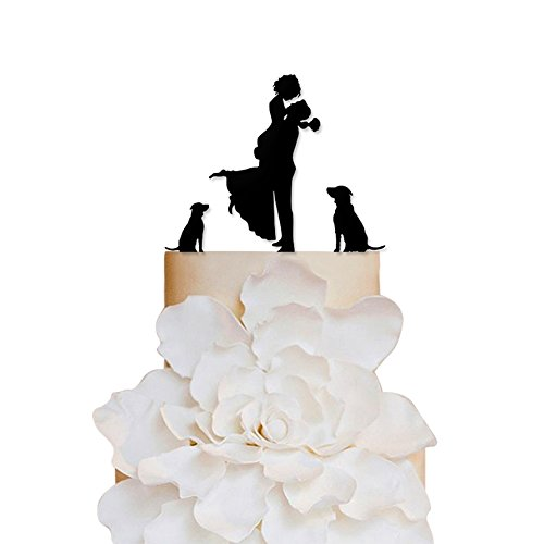 Sugar Yeti Brand Made in USA Cake Toppers Bride and Groom With Dogs Wedding Cake Toppers Wedding Decoration Acrylic Cake Topper for Special Events