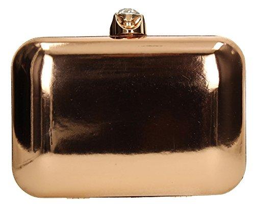 Clutch Champagne Patent Bag Clutch Party Womens Prom SWANKYSWANS Leather Camilla Ladies Wedding Metallic Box axTwgqvvf