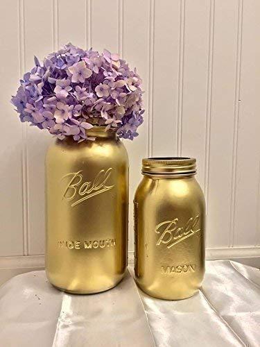 Set of 2 Metallic Gold Mason Jars Country Chic Wedding Decorations Tall Glass Flower Vase