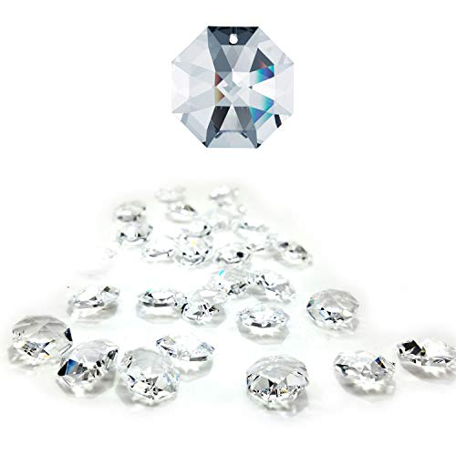 CrystalPlace 12 Pcs Swarovski Crystal, 14mm Clear Crystal, One Hole Strass Octagon Lily, Ideal for Jewelry Making, Chandelier Parts, Arts Crafts