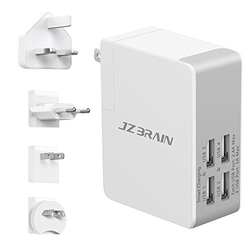 JZBRAIN Travel Wall Charger UL Listed All In One Universal 4-Port USB Charger for Multiple Devices, with UK/US/AU/EU Power Plug Adapter by JZBRAIN