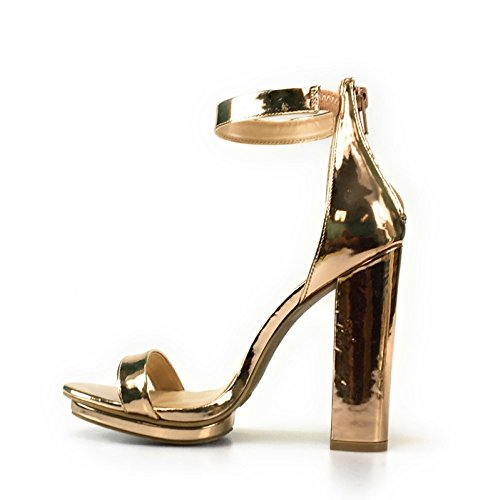 BAMBOO rampage 04 Womens Single Band Chunky Heel Sandal With Ankle Strap (8, RoseGold2