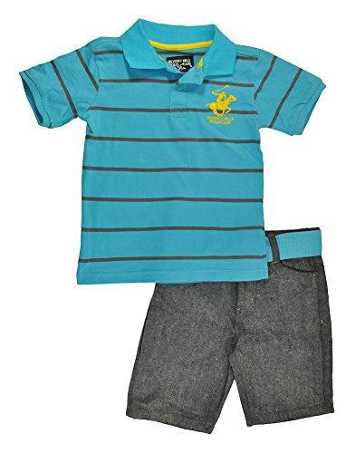 Beverly Hills Polo Club Little Boys S/S Aqua Polo 2pc Denim Short Set - Jeans Joker