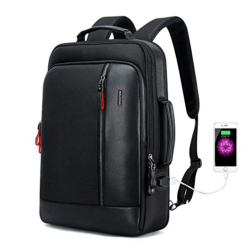 BOPAI 15.6inch Anti Theft Business Laptop Backpack Slim College Leather Backpack