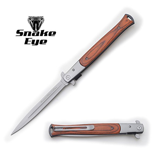 "Snake Eye Tactical Large Style Folding Pocket Knife Camping Fishing Lightning Fast Deployment - Razor Sharp Blade 13"" Overall (Wood)"