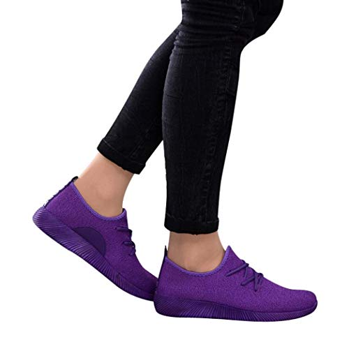 Gyoume Women Sports Shoes Ankle Boots Slip On Shoes Sports Shoes Candy Color Student Net Shoe Purple