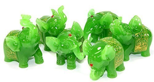 Feng Shui Set of 6 Jade Green Elephant Statues Wealth Lucky Figurines Home Decor Housewarming Congratulatory Gift US Seller by KT by KT