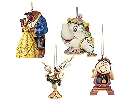 Disney Traditions Belle And The Beast With Mrs Potts Chip Cogsworth Lumiere Hanging Christmas Tree Decorations