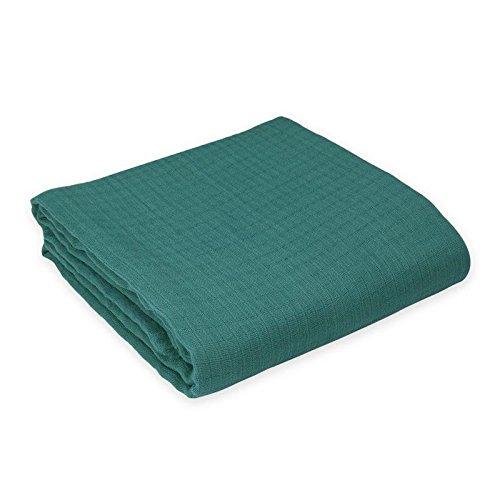 Oliver & Rain Baby Swaddle Blanket - Newborn 100% Organic Cotton Solid Dark Teal Muslin Swaddle Blanket