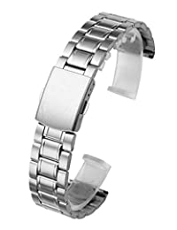 Top Plaza 20mm Stainless Steel Link Bracelet Wrist Watch Band Strap Replacement Single Fold Over Clasp 3 Rows Metal Strap