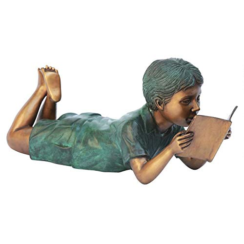 Boy Lying Down Reading Bronze Statue