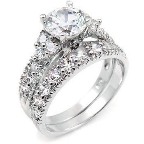 Sterling Silver Cubic Zirconia Wedding Engagement Ring Set (7)