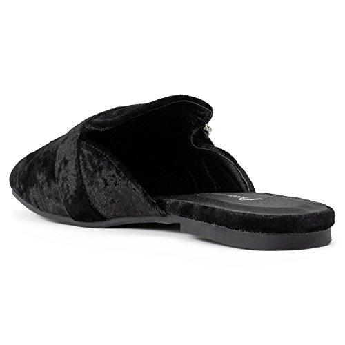 On OF Mule New Flats Backless Slip Low ROOM FASHION Stacked Heel Black Velvet RF Women's Vegan Slides Loafer zwqS5xpF