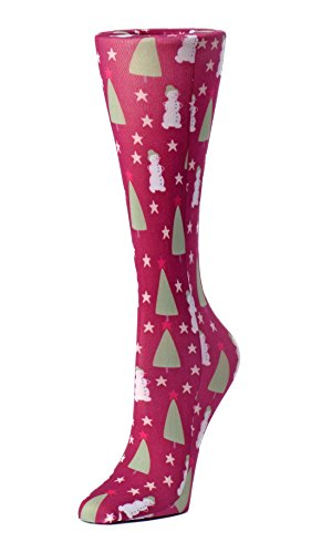 (Cutieful Women's Nylon 8-15 Mmhg Compression Sock Christmas)