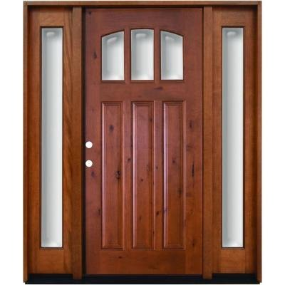 Craftsman Exterior Wall (Craftsman 3 Lite Arch Stained Knotty Alder Wood Right-Hand Entry Door with 14 in. Sidelites and 6 in. Wall)