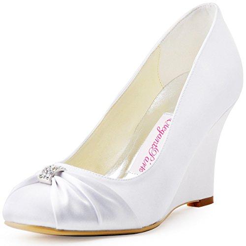 Rhinestones Zapatos Satén El Bombas Novia Arcos Blanco EP2005 ElegantPark tacón de Cuña Mujer alto Chiusa Punta R7qTExpvw