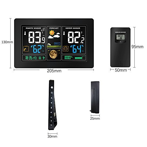 Protmex Wilreless Weather Station, PT3378 WWVB Radio Controll Alarm Color LCD Display Temperature Alerts with Outdoor Temperature Humidity Remote Sensor
