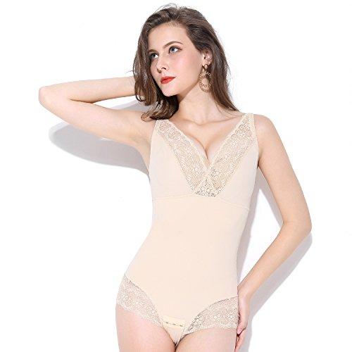 MOVWIN Women's Body Shaper Tummy Control Seamless Shapewear Lace Sexy Open Bust Bodysuit (XL,Beige ()