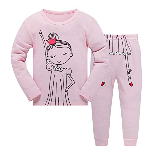 Popshion Little Girls Pink Pajamas Set Children Christmas PJs 100% Cotton Sleepwear Size 2 to 7 Years