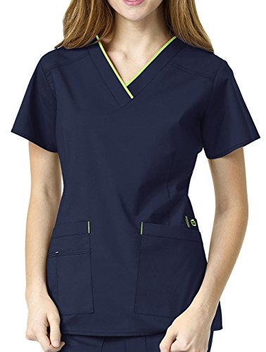 WonderWink Size Wonderflex Plus Peace Contrast V-Neck Women's Scrub Top, Navy, 2X-Large