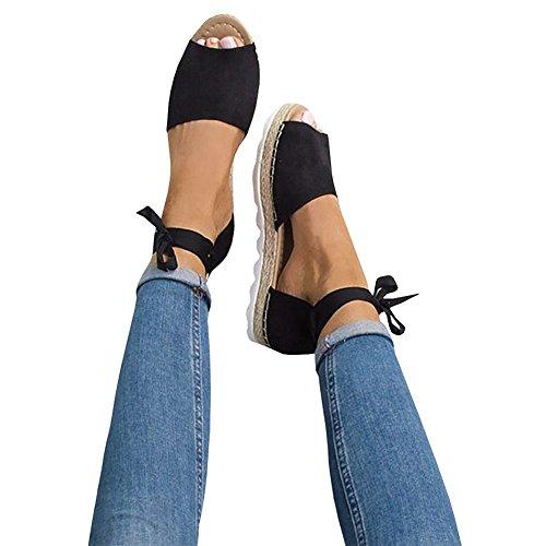 Athlefit Womens Summer Espadrille Flat Sandals Peep Toe Ankle Strap Platform Sandals Size 10.5 Black