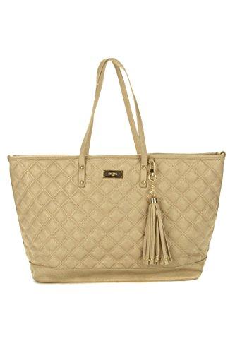 BCBG Paris Womens Quilted Faux Leather Tote Handbag Tan Large
