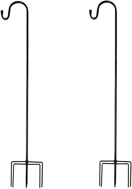 LeToper Bird Feeder Pole Adjustable - Shepherds Hook 5 Prongs 37.7 Inch 2 Pack Heavy Duty Garden Hanging Plant Holder for Bird Feeders Lanterns Planting Hanger Weddings Decor